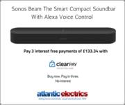 Sonos Beam Smart Compact Soundbar with Alexa Voice Control in Black